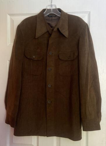 vintage Halston ultrasuede shirt jacket 40R brown… - image 1