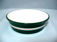 Green With Red Stripe Dog Cat Bowl Dish Ceramic 6 Inch
