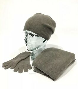 43d0b5a3735 UGG 100% CASHMERE SCARF GLOVES AND BEANIE HAT GIFT SET SLATE GRAY ...
