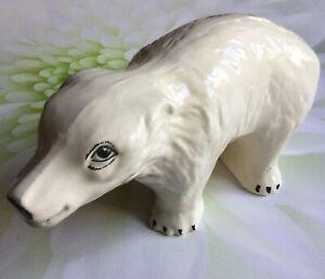 Vintage-Ceramic-Polar-Bear-Ornament-Figurine-Made-in-England