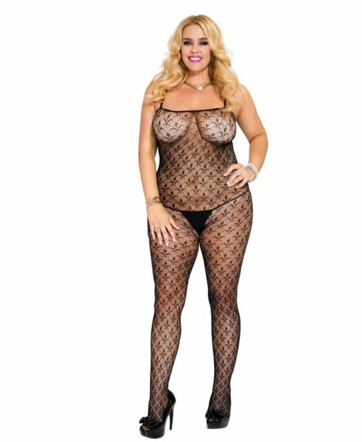 b756d0cd6 Lingerie Plus Size Flowery LOOK Crotchless Bodystocking 1071q-black ...