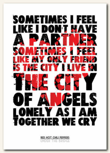 Red Hot Chili Peppers song lyric poster typography art print in 4 sizes