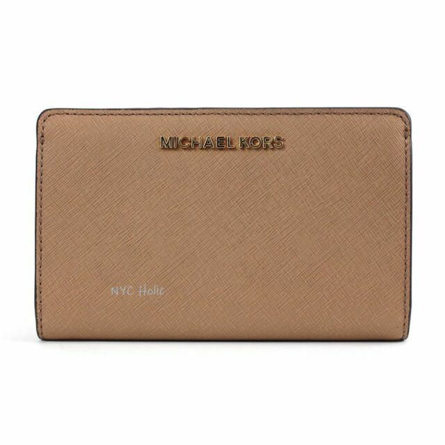 3906fb8343c1 Michael Kors Saffiano Leather Jet Set Travel Double Zip Wallet in Dark Khaki