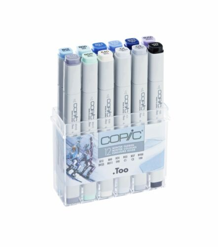 COPIC .TOO MARKER REFILLABLE WITH COPIC VARIOUS INKS 12 WINTER COLOURS SET