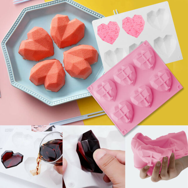 6 Holes Heart Shaped Silicone Chocolate Mold Cake Baking Diamond Baking Tool US