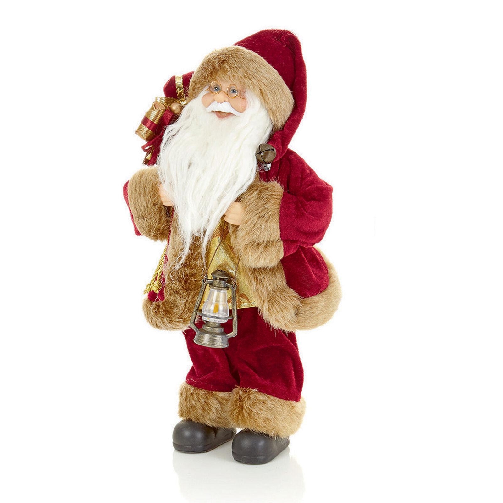 Christmas Room Decoration Burgundy//Gold 30cm-40cm Sitting or Standing Santa