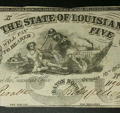 1862 $5 State of Louisiana Obsolete Currency Note
