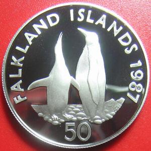1987-FALKLAND-ISLANDS-50-PENCE-SILVER-GEM-PROOF-KING-PENGUIN-WWF-WILDLIFE-COIN