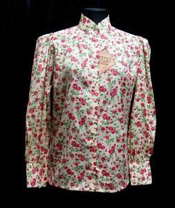 Victorian-Vintage-style-ladies-Blouse-Frontier-Classics-floral-rose-pattern-S-3X
