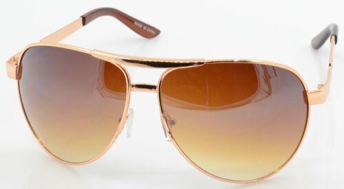 Men Women Gold Brown Fashion Designer Metal Frame Aviator Shades Sunglasses 3022