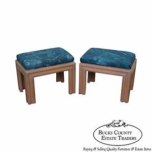 Outstanding Details About Mid Century Modern Pair Of Cerused Finish Ottomans Benches Unemploymentrelief Wooden Chair Designs For Living Room Unemploymentrelieforg