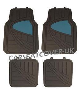 Chevrolet Cruze - Black/Blue HEAVY DUTY Front Rear RUBBER CAR Floor MATS