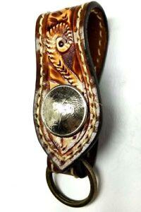 Belt-Slider-Biker-Trucker-hand-tooled-Leather-Belt-Clip-Keychain-Key-Holder