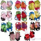 "11pcs 4"" Girl Baby Toddler Three Tone Chunky Layered Hair Bows Clip Mix 11 Color"