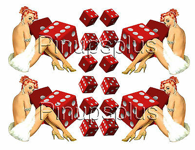 Cut Peel & stick Vintage Pin-up Girl with Dice Vinyl Stickers Decals #1235