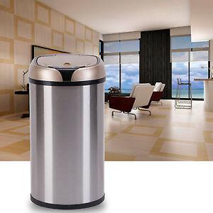 12l automatic sensor trash can touchless motion garbage lid kitchen new ebay. Black Bedroom Furniture Sets. Home Design Ideas