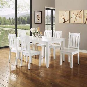 Ordinaire Details About 7 Piece White Dining Set Chairs U0026 Table Kitchen Dining Room  Furniture