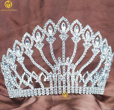 Stunning Large Tiara Full Round Crown Clear Rhinestones Wedding Party Costumes