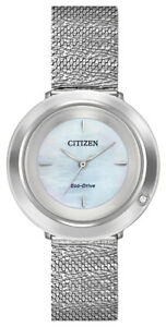 Citizen-Eco-Drive-Women-039-s-Ambiluna-Silver-Tone-Mesh-Band-32mm-Watch-EM0640-58D