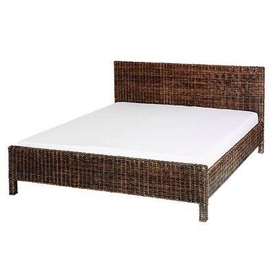 Bett Schlafzimmer Doppelbett Ehebett Rattanbett 180x200 cm braun Landhaus Stil