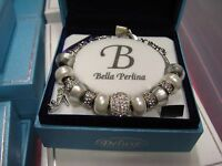 Bella Perlina Deluxe Charm & Crystal Bead Bracelet Shoe Shopping Diva - White