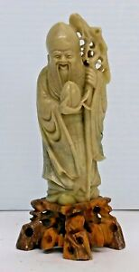 ANTIQUE-CHINESE-SOAPSTONE-HAND-CARVED-FIGURINE