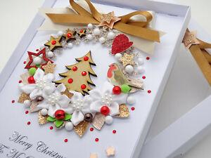 Handmade-CHRISTMAS-CARD-Personalised-Xmas-Tree-Wreath-3D-Gift-Box-Keepsake