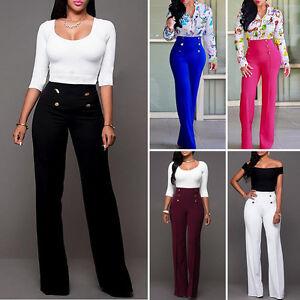 a7f589ffd9488f Women Formal Business Wear Elegant High Waist Boot-cut Long Pants ...