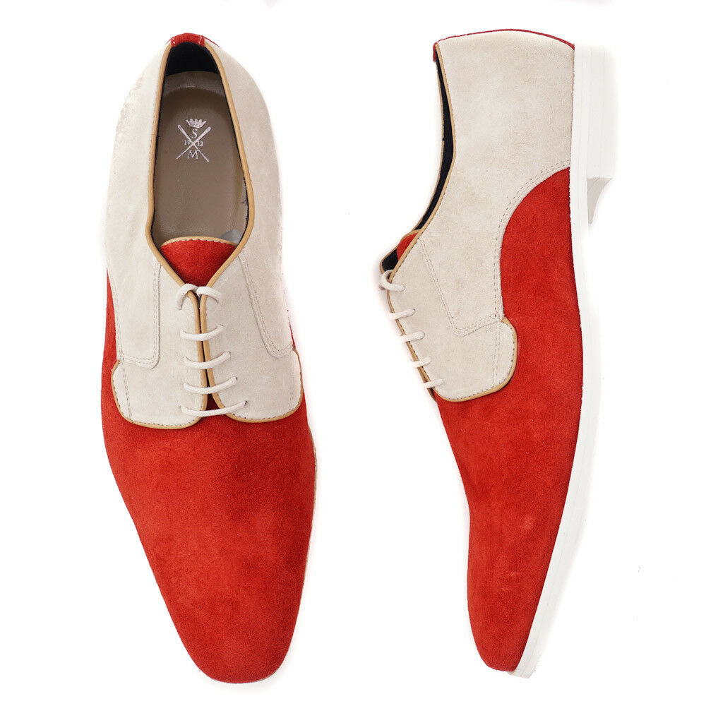 NIB  595 SUTOR MANTELLASSI Red-Ivory Lightweight Suede Suede Suede Derby US 10.5 shoes 7400ec