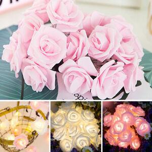 LED Lichterkette Beleuchtung 20 Rosen Blumen Weihnachten Deko Rosenblütenkette G