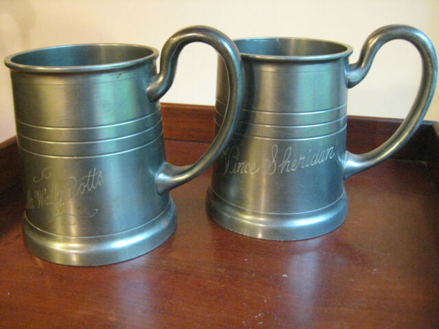 2 ANTIQUE/VINTAGE  PEWTER STEINS BEER MUGS FRANCE ONE PINT