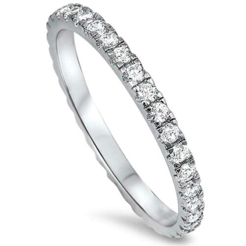 New Round Cz Eternity Style Band .925 Sterling Silver Ring  Engagement Ring