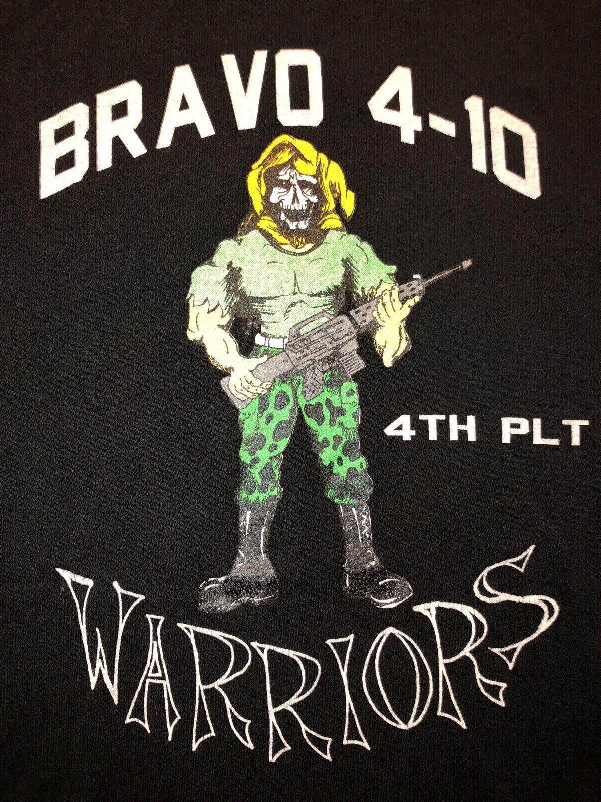VTG 80s BRAVO 4-10 4th Platoon WARRIORS T-Shirt Skull Face 50 50 USA L MILITARY