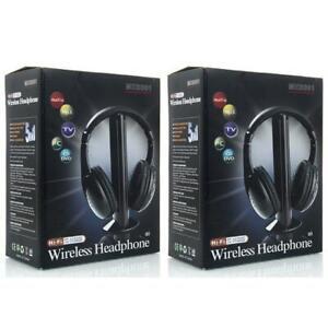 2X-New-5-in-1-Wireless-Headphone-Earphone-for-MP3-MP4-PC-TV-CD-FM-Radio-Black-US