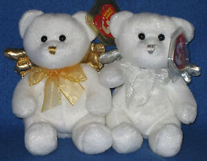 TY JUBILANT ANGEL BEANIE BEAR SET - GOLD & SILVER - MINT with MINT TAG