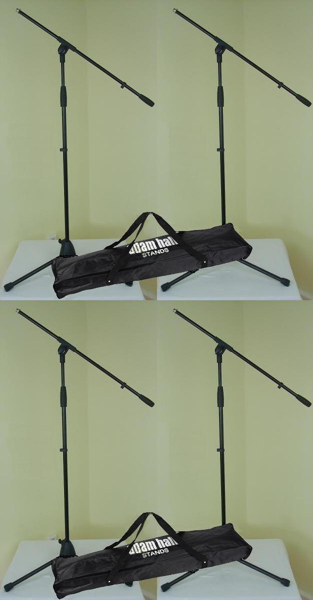 4 x Mikrofonstativ ECO mit 2 x Tasche Mikrofonständer mit Schwenkarm ADAM HALL