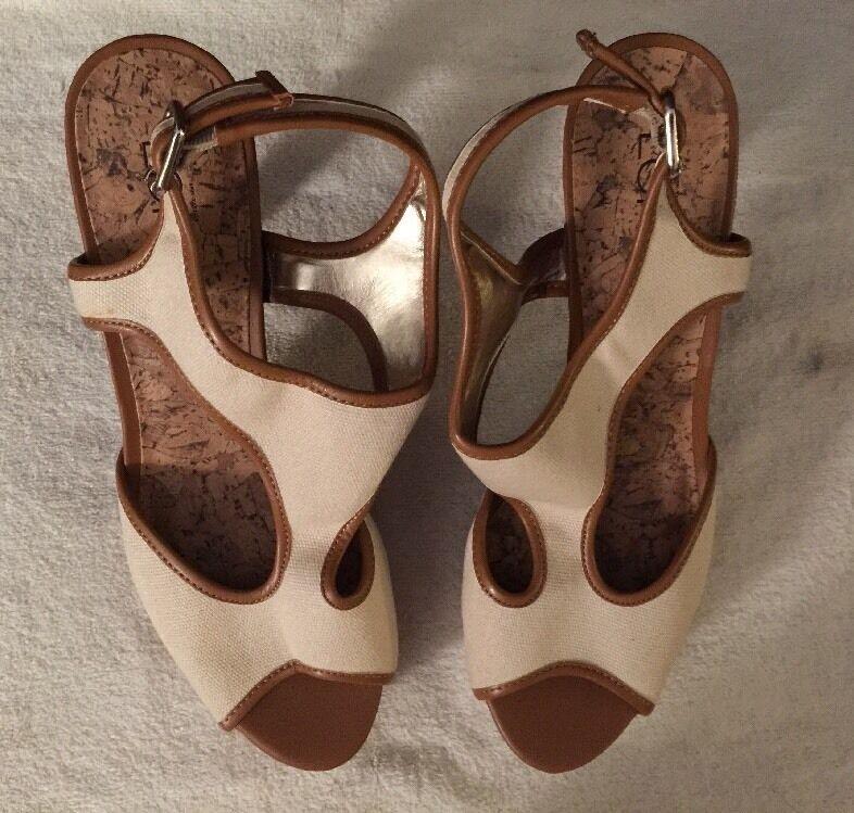 bc1edc99b86 Ann Taylor LOFT Canvas T Strap Pure Ivory Cork Pump Heels Sz 8 M E1  Isabelle H odzuzv2272-Women s Heels