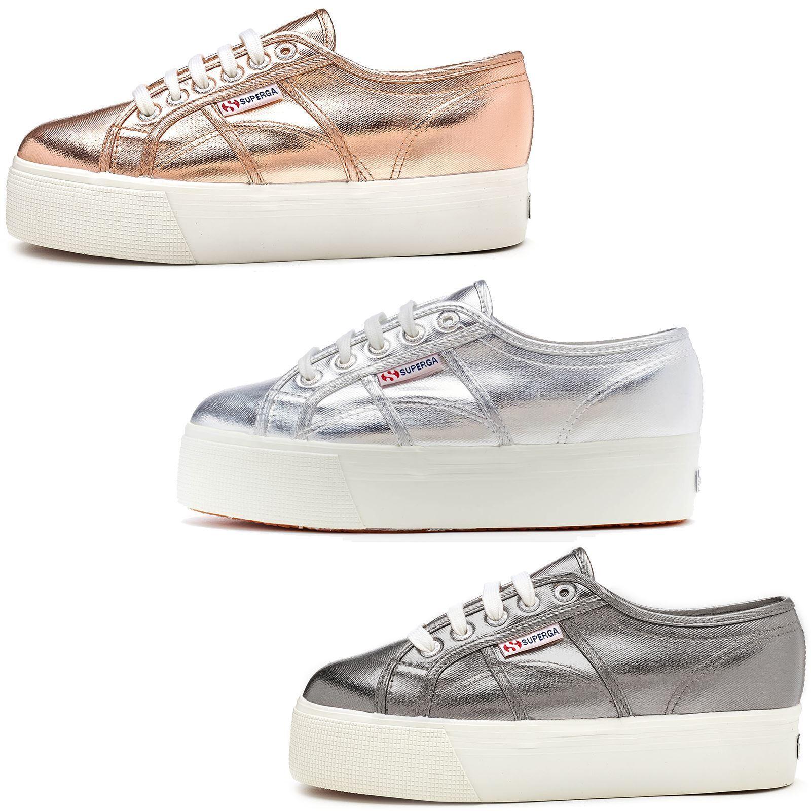 Superga 2790 Cotmetu Platform Plimsoll Shoes in Silver Grey & Rose Pink