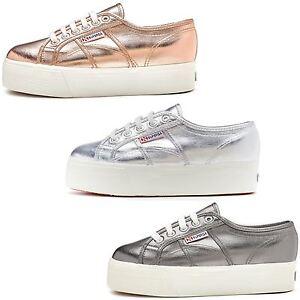 4245ef46be9ef Image is loading Superga-2790-Cotmetu-Platform-Plimsoll-Shoes-in-Silver-