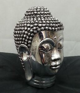 Chrome silver buddha head sculpture ornament indoor decor for Buddha decorations for the home uk