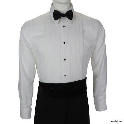 """Boys White Tuxedo Shirt with Lay Down Collar and 1//4/"""" Pleats"""