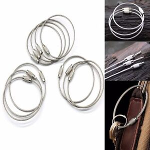 Image is loading 10XOutdoor-Stainless-Steel-Wire-Keychain-Key-Ring-Aircraft- 630571f8a