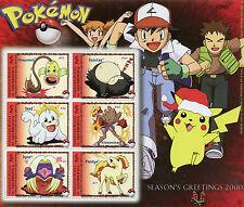 Micronesia 2000 MNH Pokemon Seasons Greetings 6v M/S Snorlax Seel Ponyta Stamps