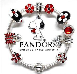 Authentic-Pandora-Silver-Bracelet-With-Snoopy-Love-Heart-European-Charms-NIB
