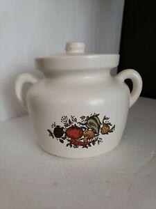 Vintage McCoy Pottery SPICE OF LIFE DELIGHT White Bean Pot Lid USA Crock Jar 341