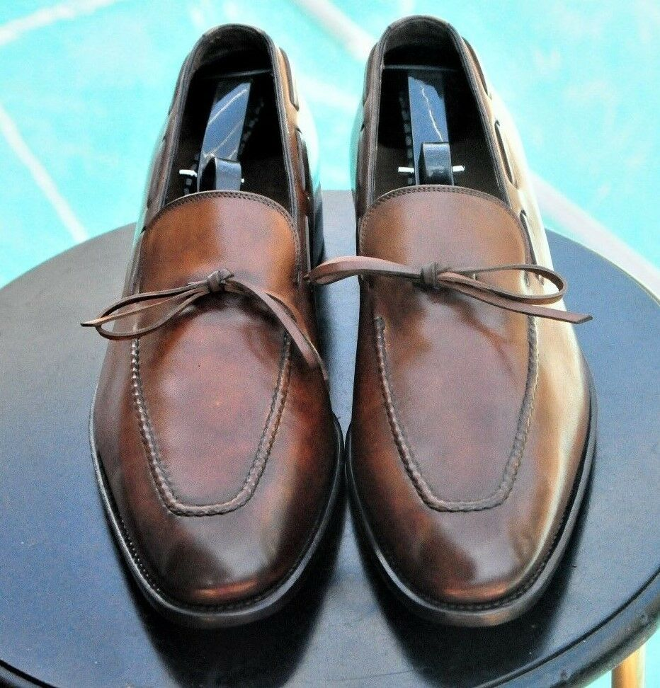 Ferragamo Mans especial EDT Tramezza Marrón Cuero burnised Vestido Mocasines S 7.5EE
