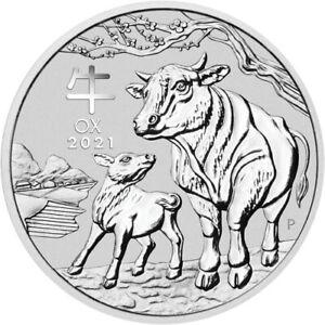 2021 Australia 1 OZ 999 Fine Silver $1 Lunar Ox Coin Brilliant UNC+ Capsule