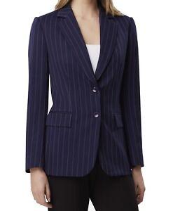 Tahari By ASL Women's Blue Size 4 Two-Button Pinstripe Blazer Jacket $139 #569