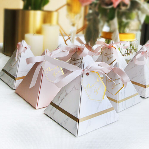 10-100X Marble Look Paper Party Birthday Wedding Favour Gift Boxes Ribbons Tags