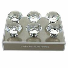 G Decor Pack of 6 x 40mm Clear High Quality Round Crystal Glass Door Knobs Pull